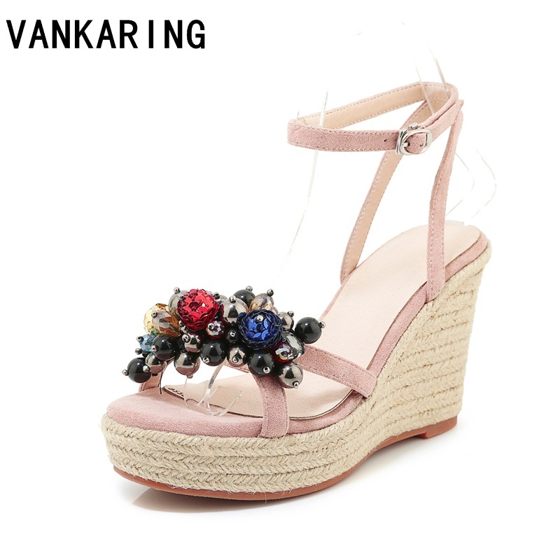 brand shoes women 2019 summer new sweet flowers buckle open toe wedge sandals beading high heeled