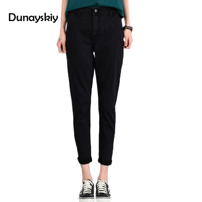 New High waist loose women Pencil pants denim jeans female turnip trouser office lady Large size black casual good match simple studio m new white black women s size large l printed straight pencil skirt $78