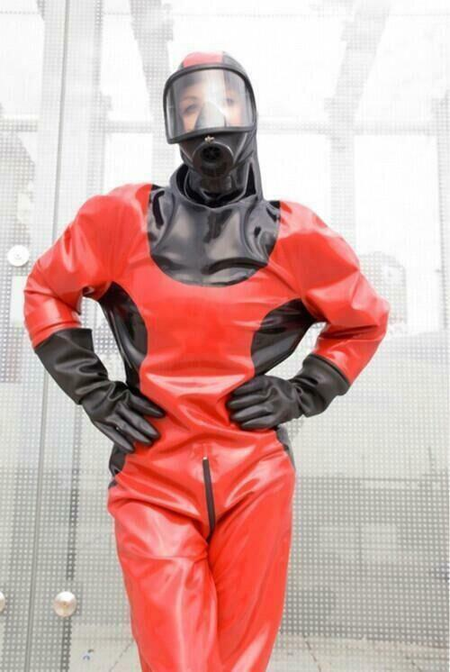 Gummi Latex Rot Schwarz Suit Strumpfhose Uniform Catsuit Sexy Party