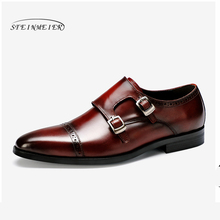 Men Genuine cow leather brogue Wedding shoes mens casual flats shoes vintage handmade oxford shoes for men black brown spring