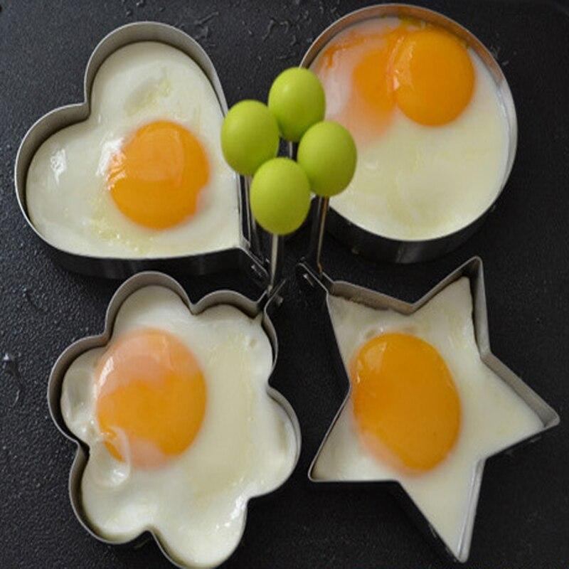 1PCS rozsdamentes acél tojás sütőforma Főzőeszközök Palacsinta öntőformák Gyűrűs szív Virág alakú keksz süti penész konyhai modul