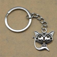 1 piece motor keychain Smile Cat wedding gifts for guests souvenirs 24x21mm pendant antique silver(China)