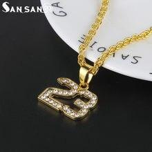 873ea3173c4 Nouveauté cristal Hip Hop basket légende numéro 23 colliers et Pandents  Bling or chaîne cubaine collier bijoux pour homme