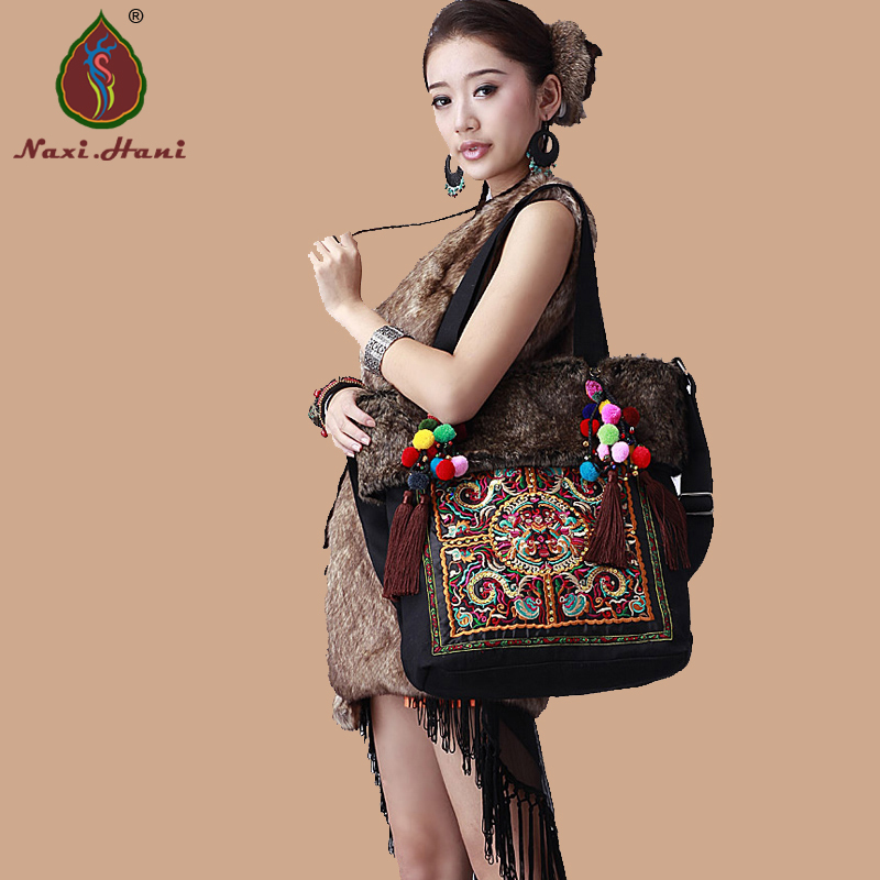 Winter Vintage Artificial Wool Canvas Embroidery Shoulder Bags Ethnic Handmade Pompon Beaded Messenger Bags