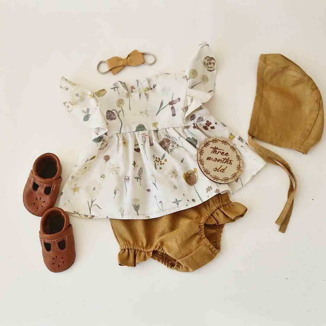 4PCS Summer Newborn Kids Baby Girls Floral Top T-shirt Pants Hat Outfit Clothes Sequins Outfits Clothes