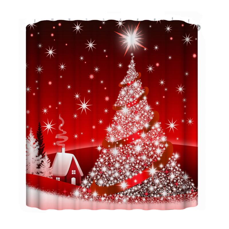 Chinese Red Christmas Tree 3D Digital Printing Bathroom Curtain Waterproof Fabric Bath Shower Accessaries Bathroom Supplies