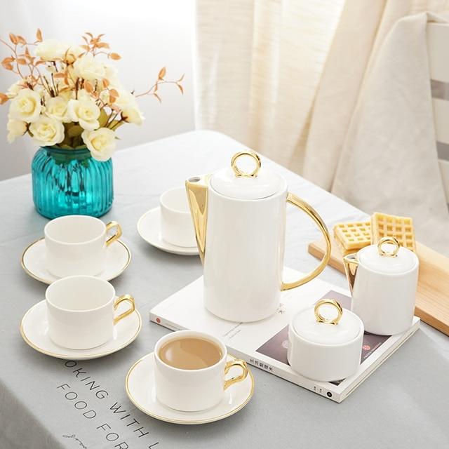 11 Pcs Luxury Modern Gold Ceramic Bone China Tea Coffee Sets 1 Teapot 4 Cups