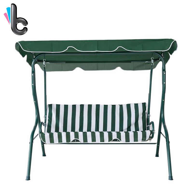KARMASFAR Outdoor Green White Stripe Swing 3 Seater Canopy Swing Chair Hammock Garden Backyard Porch Cushioned Steel Frame Swing garden swing for children baby inflatable hammock hanging swing chair kids indoor outdoor pod swing seat sets c036 free shipping