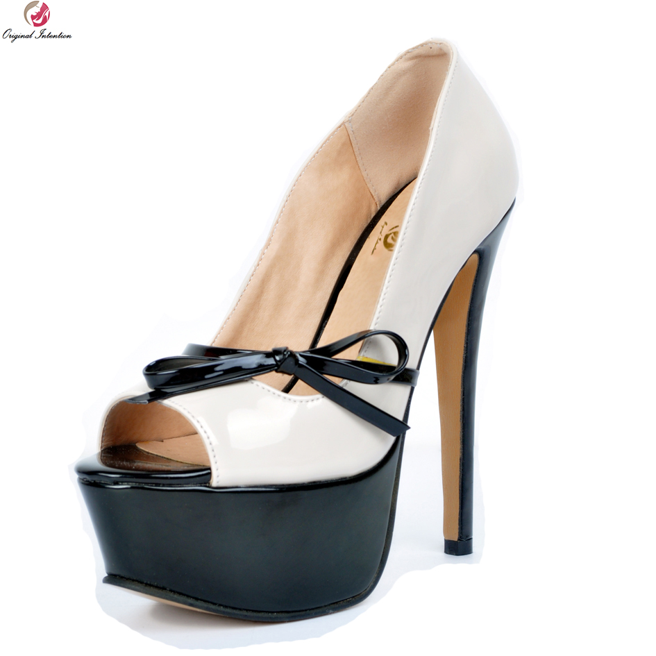 Original Intention New Arrival Women Pumps Fashion Peep Toe Nice Thin High Heels Concise Beige Shoes Woman Plus US Size 4-15