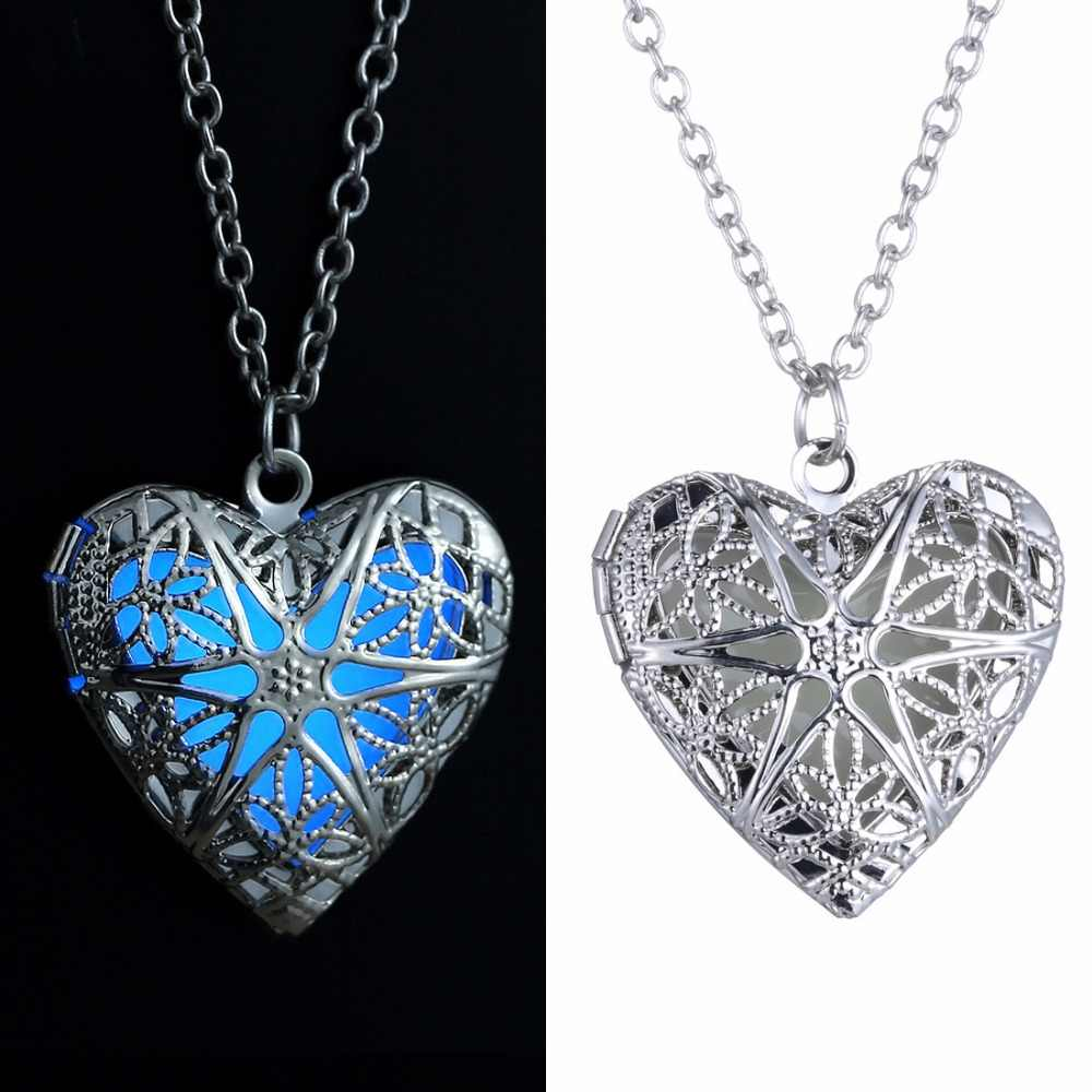 Hot Sell Silver heart peach heart hollow luminous necklace luminous night pendant Christmas Best Friend Gift 002