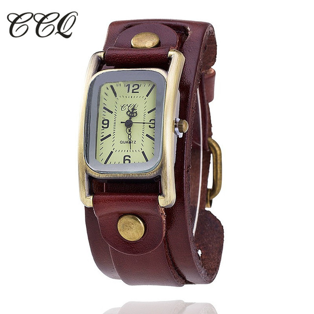 CCQ Vintage Cow Leather Bracelet Watch Fashion Casual Women Wrist Watch Antique