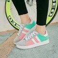 2016 Cor Patchwork Lace Up Sola De Borracha Respirável Super Lazer Mulheres Sapatos Casuais Com Sapatos Flats Sapato de Estudante