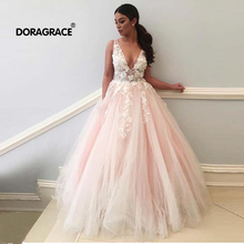 Doragrace Real Photo Sexy Deep V-Neck Backless Applique Tulle Prom Dresses Long Evening Party Gowns