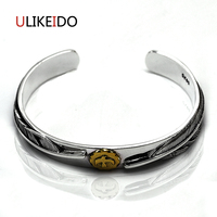 Pure 925 Sterling Silver Bangle Feather Fashion Vintage Hand Chain For Men And Women Special Japan