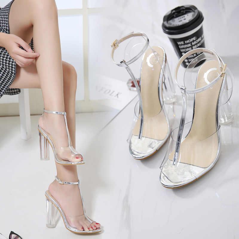 Clásicas Sandalias Alto Zapatos Tacón Sexy De Transparentes Mujer kXiwOuPZT
