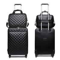 Runingtiger Men's 1620 24inch women's rotating leather retro trolley bag 24 suitcase portable luggage set