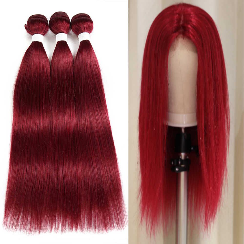 Бразильские человеческие волосы плетение пучок s X-TRESS 99J/бордовый красный цвет прямые человеческие волосы ткачество не Реми предварительно цветной пучок волос