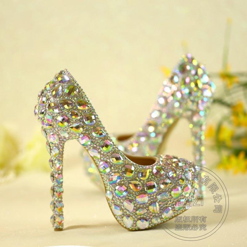 ФОТО Leather Dress Cinderella White Slip On Pearl Rhinestone Crystal Wedding Shoes Luxury Bling Women Glass Slipper Pumps Plus Size