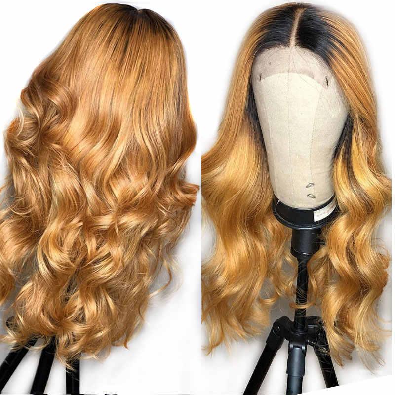 Czarny miód blondynka koronki przodu włosów ludzkich peruki faliste Ombre kolorowe 360 czołowa koronki peruka Preplucked brazylijski Remy ludzki włos peruki dla kobiety