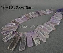 Aproximadamente 36 unids / strand de amatista Natural tapa perforaron perlas de punto, cristal de cuarzo púrpura rebanada granos de los colgantes 10-12×28-50mm