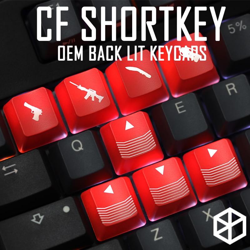 Light Arrow-Key Gaming Wasd Shine-Through-Keycaps Novelty Shortkey Crossfire Black ABS