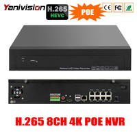 4K 48V POE H 265 H 264 NVR 4CH 8CH 4K 5MP P2P RS485 IEE802 3af