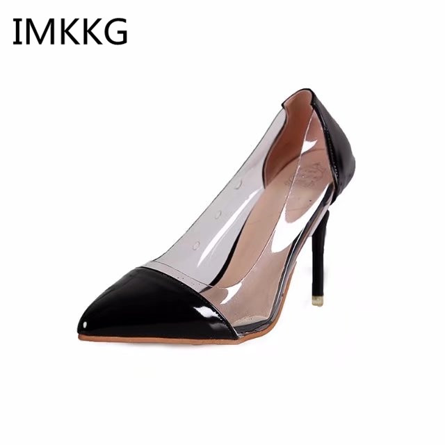 New 2018 Summer Slip On Elegant PVC Pumps Sexy High Heels Stiletto Clear Shoes For Woman Black Red Sandals Women m231 basic pump