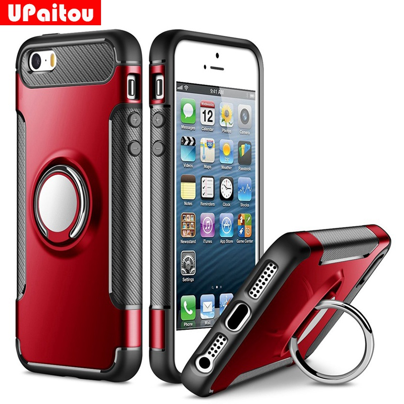 Ring Grip 360 Degree Rotating Case for iPhone SE Car Holder Stand Magnetic Suction Bracket Case for iPhone 5 5S TPU+PC Case