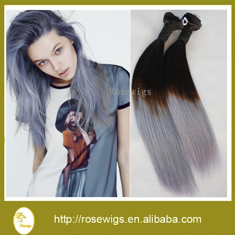 Grade 7a Filipino Ombre Virgin Hair 1b Grey Two Tone Color Ombre