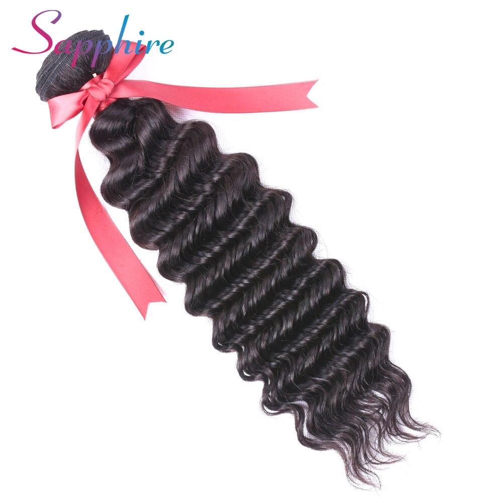 Sapphire Malaysian Deep Wave Hair Bundles 100% Human Hair Bundles Non Remy Hair Extentions 1 PC Natural Color Free Shipping