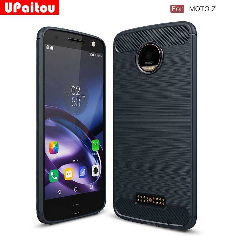 UPaitou For Motorola Moto Z Case Ultra Thin Carbon Fiber Case Scratch Resistant Soft TPU Back Cover for Moto Z Droid Phone Case image
