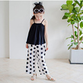 kids clothes girls clothing sets 2 pcs children clothing set girls black vest tops white dot long pants spring summer 2017 suits