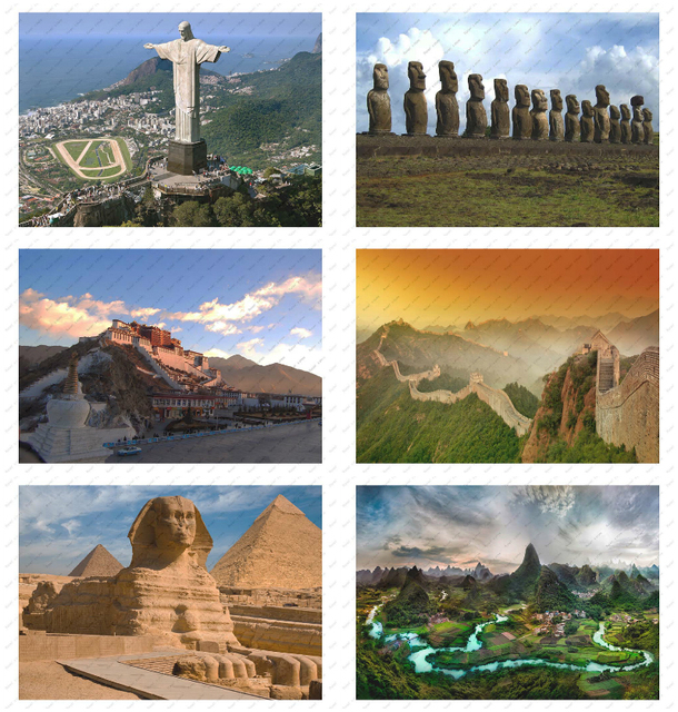 Landscape statue history poster decorative painting /wall sticker /White kraft poster