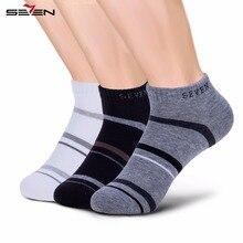 Seven7 брендовая мужская повседневная носки Высокое качество носки до лодыжки полосатый Контрастность Цвет одноцветное удобные дышащие носки 1 пара 109G48150