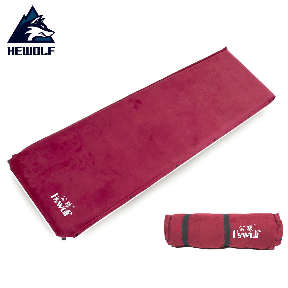 Hewolf Automatic Inflatable Mat Picnic Suede Copper Valve Pad Cushion Outdoor Camping Hiking Soft Mat Russia Stock 200*63*6.5cm hewolf outdoor 2 person automatic inflatable mattress cushion picnic mat inflating hiking camping travel beach moisture pad