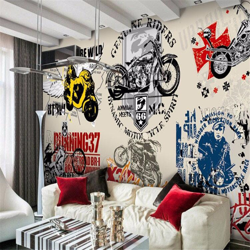 ... Custom Photo Wall Mural Wallpaper 3d Luxury Quality HD Harley Davidson  Motorcycle Retro Nostalgia ... Part 23