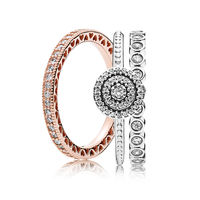 NEW 100% 925 Sterling Silver Elegance Ring Stacked Charms Rings Set Fit European Girl DIY Original Jewelry Gift A set of prices