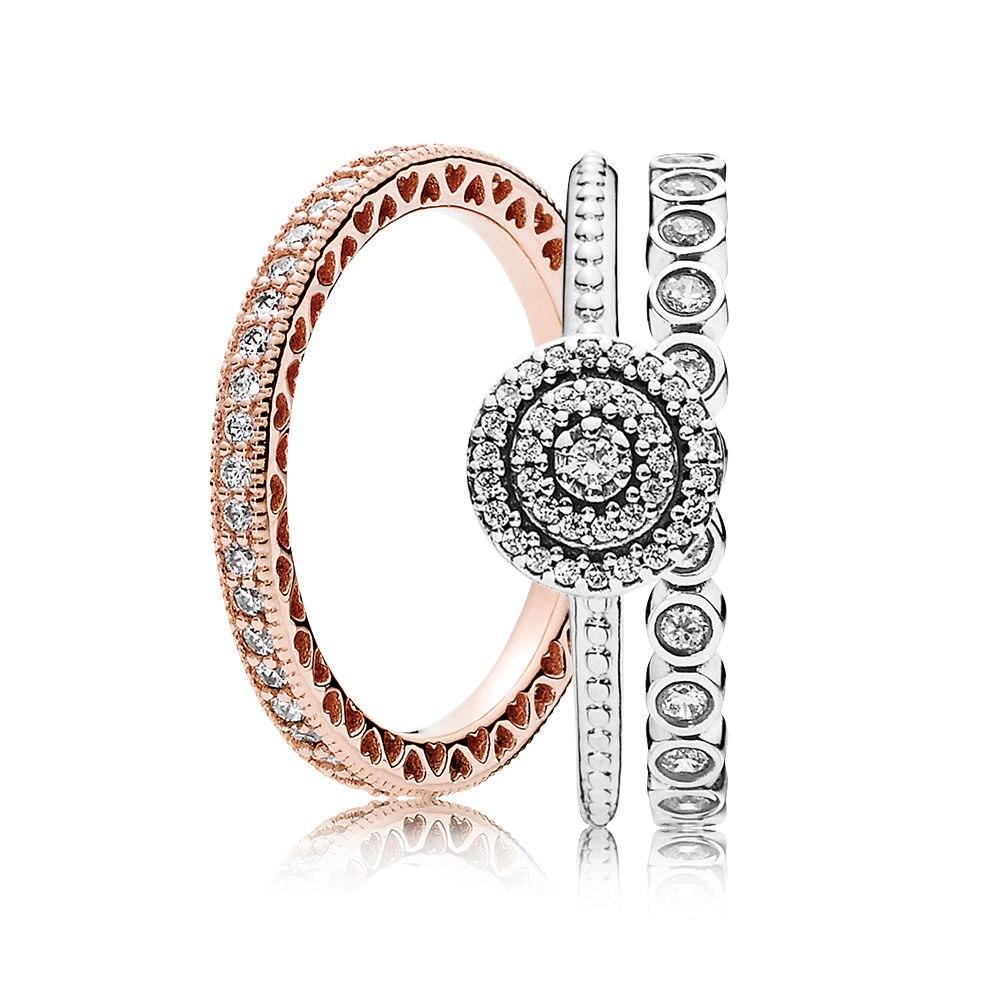 Nouveau 100% 925 en argent Sterling élégance anneau empilé charmes anneaux ensemble Fit européenne fille bricolage Original bijoux cadeau un ensemble de prix