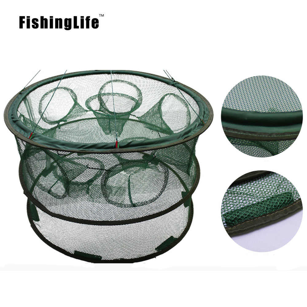 Fishinglife dobrável portátil automático pesca camarão armadilha net peixe camarão minnow caranguejo malha moldada duas camadas 5 6 7 8 buracos