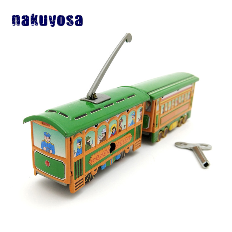 Children Memory Reminiscence Metal Two Trams Wind Up Toy Classic Simulation Diecast Toys For Children Adults Collection