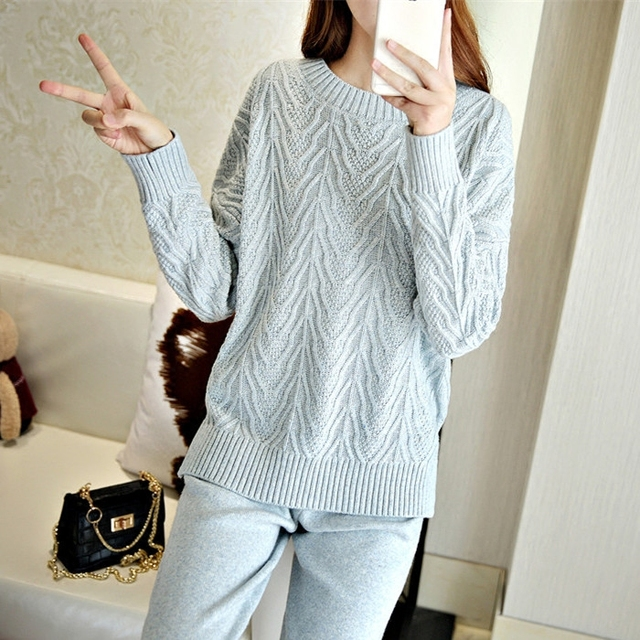 Pullover Full O-neck Pullovers Time-limited Pullovers Women  Winter Hot Cashmere Sweater Set Knit And Casual Pants Of Women
