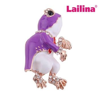 20pcs Purple Frog Style Enamel Brooch Pins Rhinestone Crystal Animal Brooches for Women Men Gift