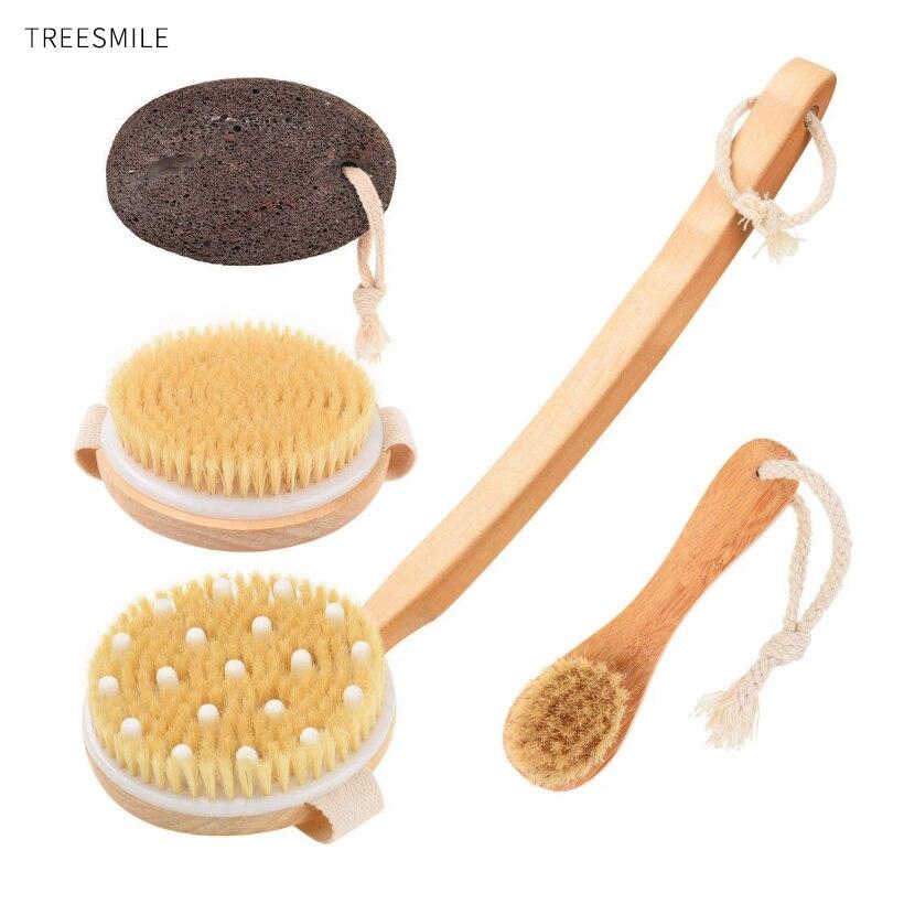 TREESMILE Bath Brush Natural Bristle Body Dry Brush Long