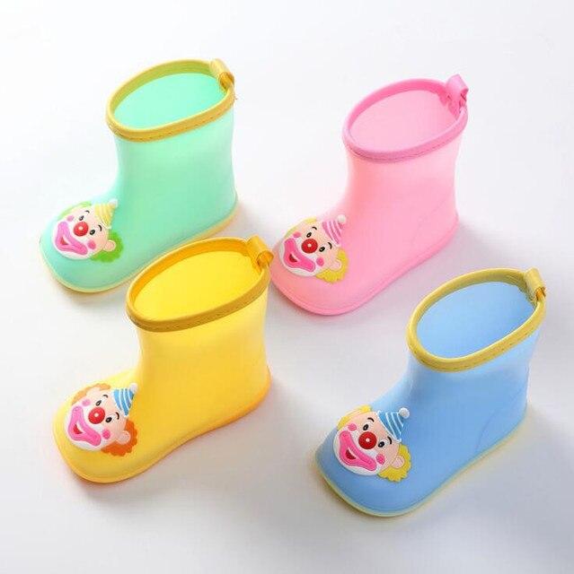 Bahar Kış Bebekler Yağmur Botları Çocuk Botları Kız Erkek Çocuklar Karikatür Yağmur Çizmeleri Şeker Renk PVC yağmur botu Su Geçirmez Ayakkabı
