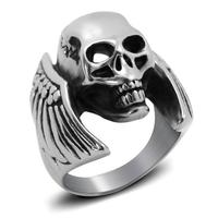 QIHE Newest Design Hiphop Rock Cocktail Rings Hot Sale Skull Titanium Stainess Men Ring Dropship