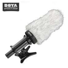 BOYA Microfone Windshield Windscreen Windshield Peludo Pele Muff para Shotgun Microfone Condensador Vento Escudo de Proteção Ao Ar Livre