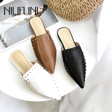 цены Pointed Rivet Mules Shoes Shallow Women's Slippers Summer New Slip On Flat Shoes Genuine Leather Slipper Women Beach Flat Shoes