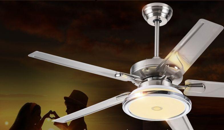 Гостиная вентилятор свет потолочный вентилятор свет минимализм современный европейский ресторан ретро бытовой вентилятор из нержавеющей стали со светодиодными лампами