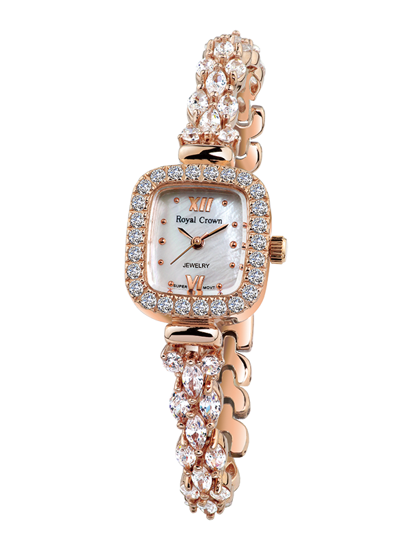 Royal Crown Jewelry Watch 1514B Italy brand Diamond Japan MIYOTA Rose gold Rosakron female watch ladies bracelet drill royal crown jewelry watch 1514b italy brand diamond japan miyota platinum bracelet korean version female watch fashion