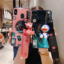 Cute Cartoon Pink Panther Stander Strap Lanyard Phone Case For Samsung Galaxy S9 Note 9 S8 Plus Blu-ray Camera Soft Cover